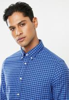 Tommy Hilfiger - Slim global stripe gingham shirt - blue