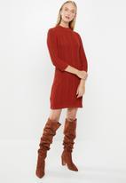MANGO - Turtle neck knit dress - red