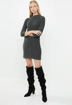 MANGO - Turtle neck knit dress - charcoal