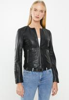 MANGO - Felipa leather jacket - black