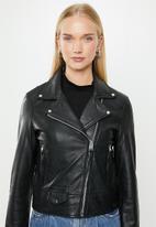 MANGO - Perfect leather biker jacket - black