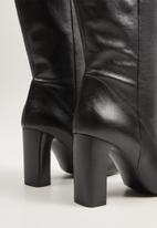 MANGO - Zitro leather knee length boot - black
