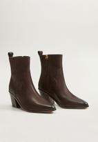 MANGO - Ashton leather ankle boot - dark brown