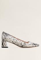 MANGO - Suelen1 block heel - grey & white