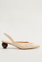 MANGO - Renee leather heel - light beige
