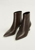 MANGO - Inky leather ankle boot - brown