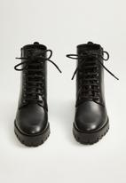 MANGO - Mili leather biker boot - black