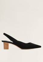 MANGO - Crose suede block heel - black