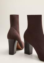 MANGO - Almond sock ankle boot - brown