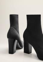 MANGO - Almond sock ankle boot - black