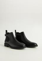 MANGO - Leather chelsea boots - black