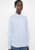 MANGO - Cotton long sleeve shirt - pale blue