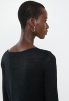 MANGO - Long sleeve lace detail top - black