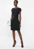 MANGO - Cap sleeve dress - black