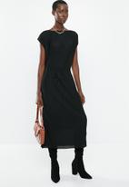 MANGO - Stripe details sleeveless dress - black