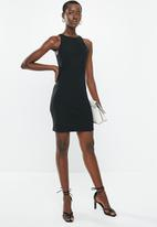 MANGO - Tailored ribbed dress - black