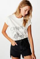 Cotton On - Classic arts T- shirt cowboy country - gardenia