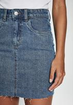 Cotton On - Classic stretch denim mini skirt - berkely blue