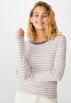 Cotton On - The turn back long sleeve top rickard stripe - multi