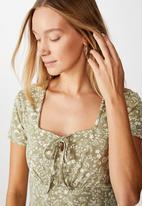 Cotton On - Yasmine gathered short sleeve mini dress - green