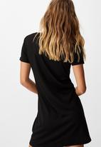 Cotton On - Yasmine gathered short sleeve mini dress - black