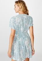 Cotton On - Woven Marissa gathered front mini dress - blue & white