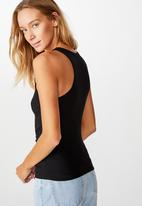 Cotton On - The long line henley tank - black
