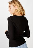 Cotton On - The turn back long sleeve top - black