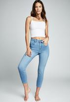Cotton On - Mid rise cropped super stretch - ocean blue pockets