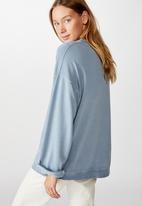 Cotton On - Lola long sleeve tunic crew - faded denim