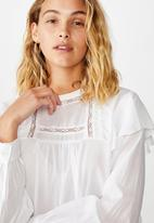 Cotton On - Lace smock blouse - white