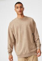 Cotton On - Pigment dyed oversized crew - taupe