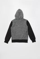 SOVIET - Paxton zip through hoodie - black & grey