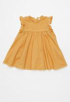 Cotton On - Tess flutter sleeve dress - vintage honey