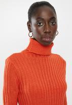 Brave Soul - Roll neck ribbed tunic dress - orange