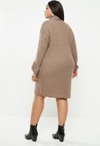 Brave Soul - Curve roll neck jumper dress - taupe