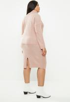 Brave Soul - Roll neck & midi skirt set - pink