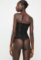 Missguided - Lace hook and eye corset bandeau bodysuit - black