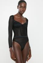 Missguided - Mesh lace corset detail long sleeve bodysuit - black