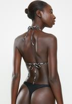 MANGO - Snake print bikini top - beige & black