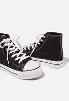 Cotton On - Jemma platform high top sneaker - black canvas