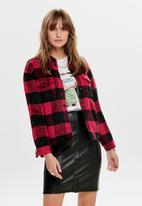 ONLY - Bret check denim shirt - red & black