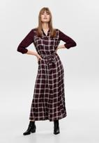 ONLY - Courtney long sleeve maxi shirt dress - burgundy