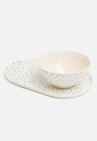 Urchin Art - Lena platter - white & black
