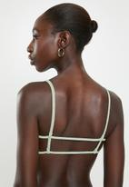 Cotton On - Backless tube bikini top - sage crinkle