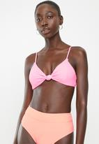 Cotton On - Knot front bralette bikini top - pink pop