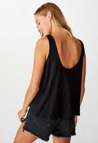 Cotton On - The relaxed scoop tank - black