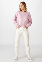 Cotton On - Hayley seam detail boxy crew pigment garment dye - lilac