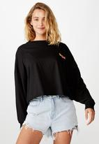 Cotton On - Bree graphic long sleeve lazy lake day - black