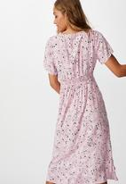 Cotton On - Woven issa gathered front midi dress millie floral - keepsake lilac